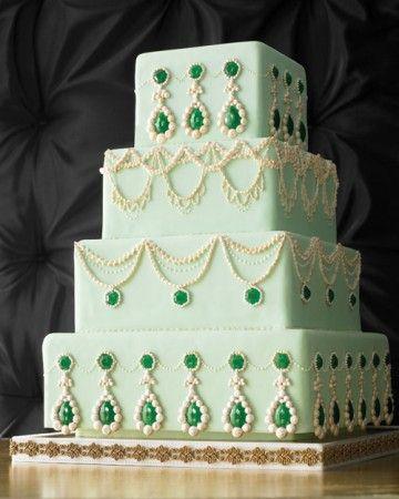 bolo matrimonial verde de casamento