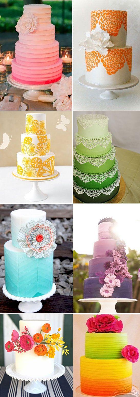 Bolos de casamento arco iris