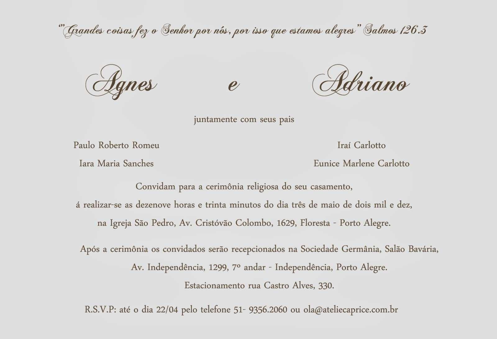 Convite de casamento clássico com salmos bíblicos