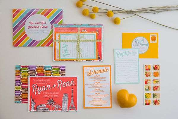 Convite colorido de casamento de várias cores